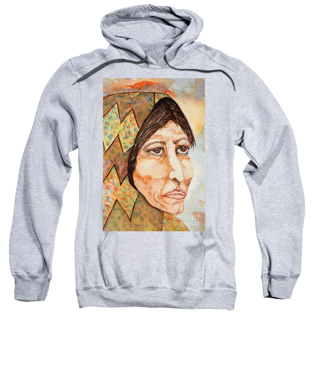 Medicine Woman Sweatshirt featuring the painting Medicine Woman by Kat Solinsky