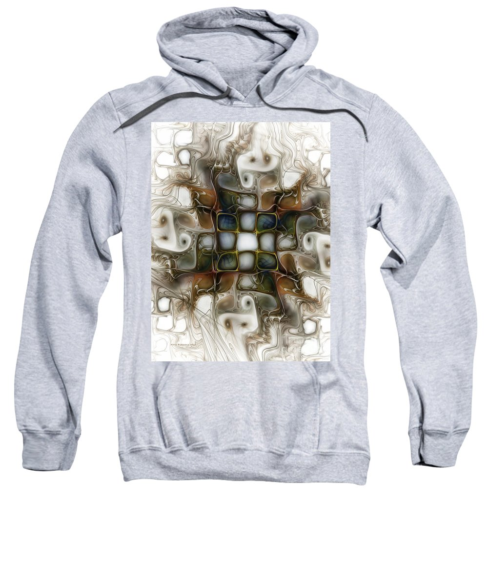 Abstract Sweatshirt featuring the digital art Memory Boxes-fractal Art by Karin Kuhlmann