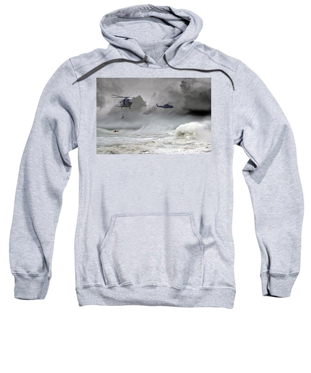 Royal Navy Merlin Sweatshirt featuring the digital art Merlin Rescue by J Biggadike