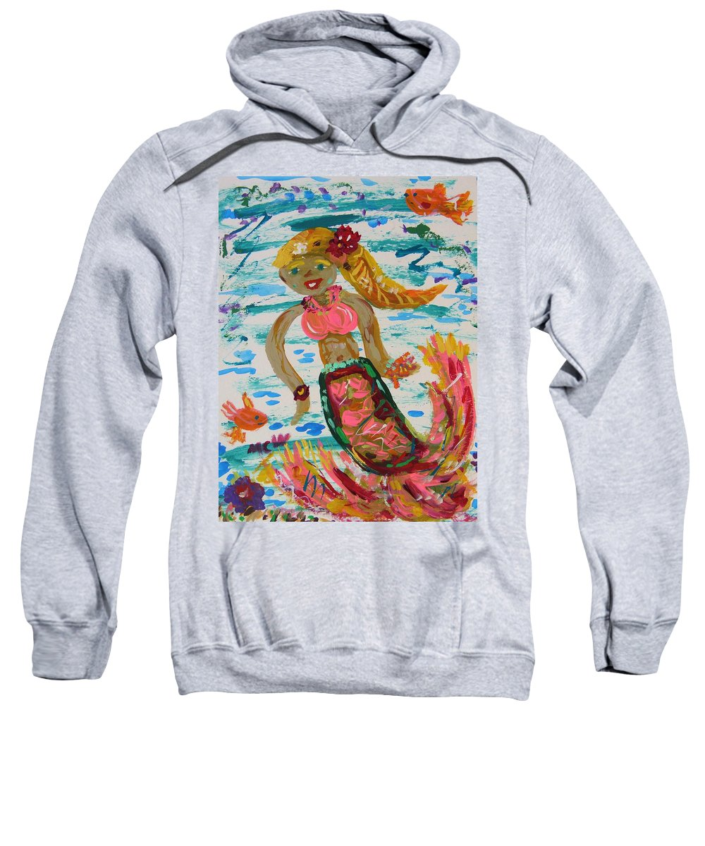 Mermaid Sweatshirt featuring the painting Mermaid Mermaid by Mary Carol Williams