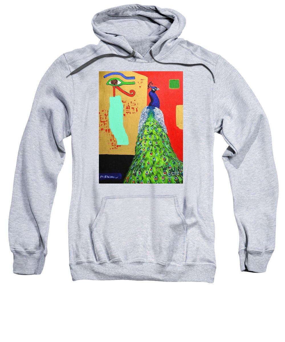 Peacock Sweatshirt featuring the painting Messages by Ana Maria Edulescu