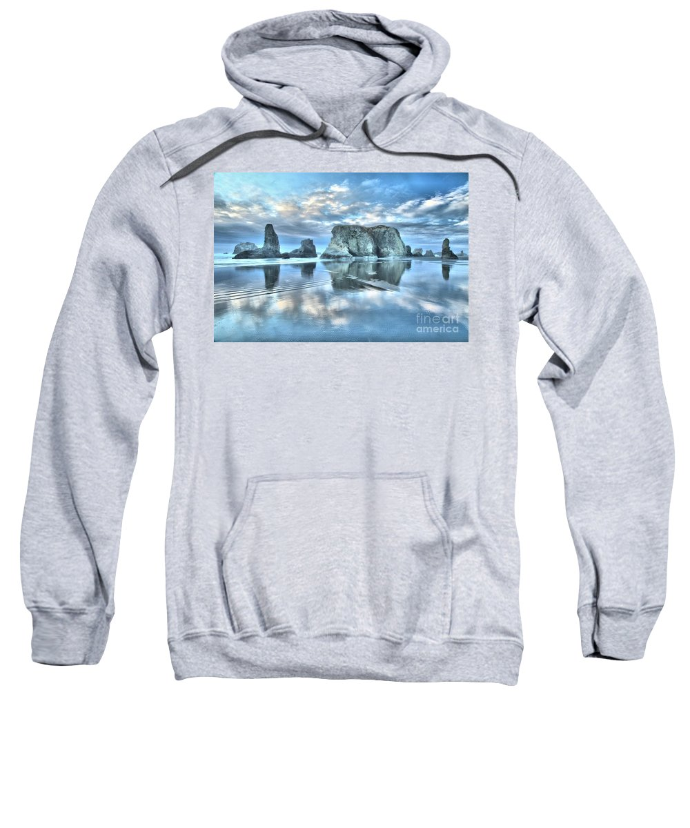 Bandon Beach Sweatshirt featuring the photograph Metallic Cloud Reflections by Adam Jewell