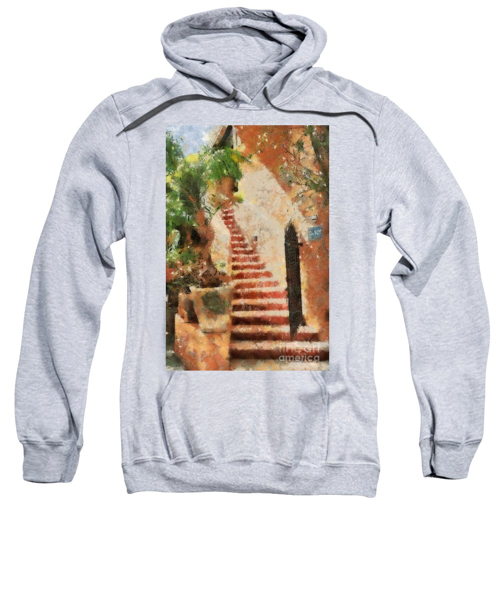 Stairs Sweatshirt featuring the digital art Mexican Impression by Teresa Zieba