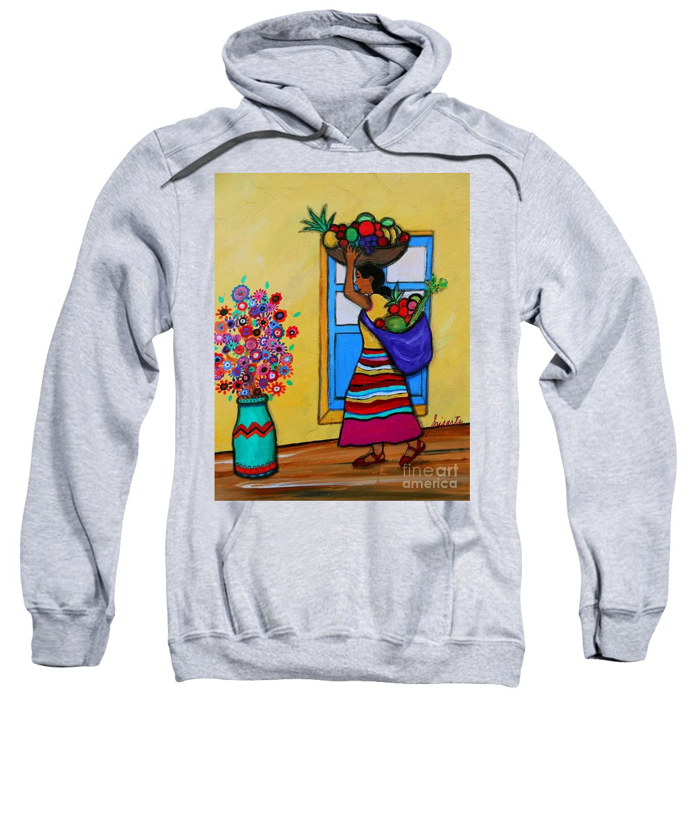 Fruit Sweatshirt featuring the painting Mexican Street Vendor by Pristine Cartera Turkus