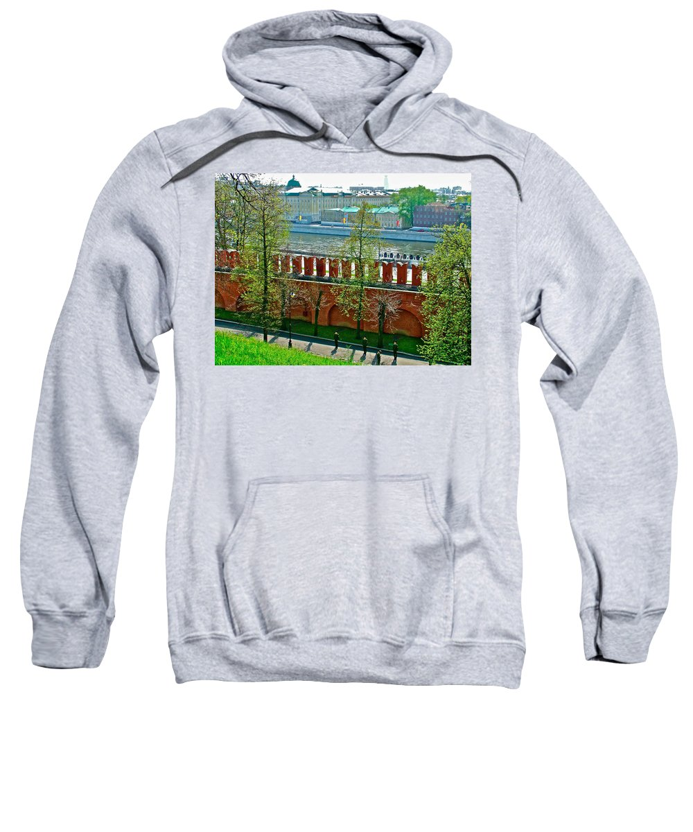 Military Parade Practice Inside The Kremlin Wall In Moscow Sweatshirt featuring the photograph Military Parade Practice Inside Kremlin Walls In Moscow-russia by Ruth Hager
