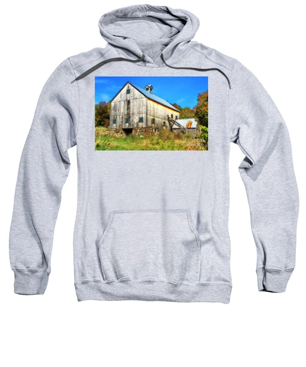 Barn Sweatshirt featuring the photograph Milton Barn In Orton by Deborah Benoit