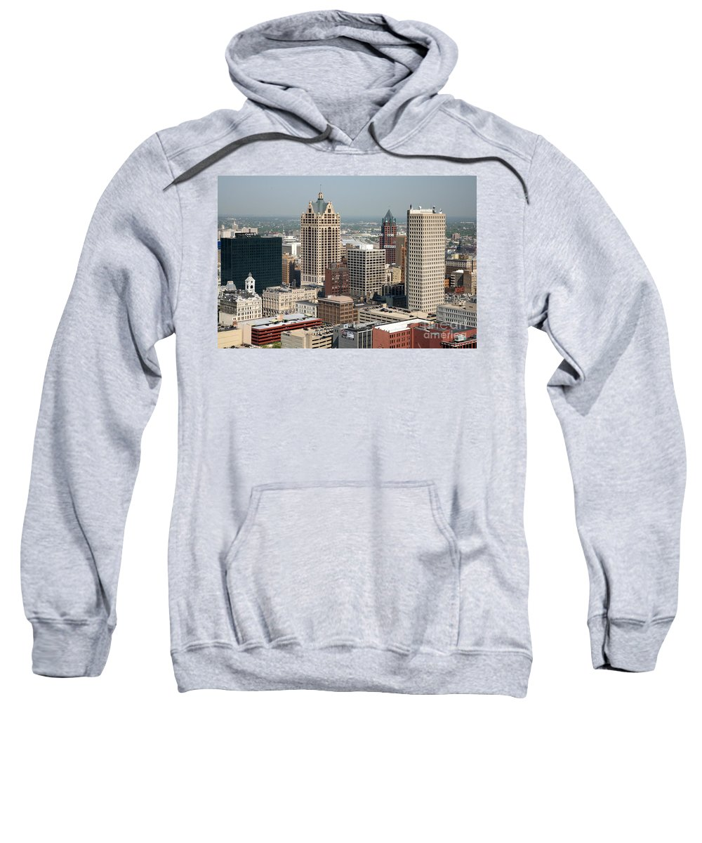 Elan Financial Services Sweatshirt featuring the photograph Milwaukee Wisconsin Skyline Aerial by Bill Cobb