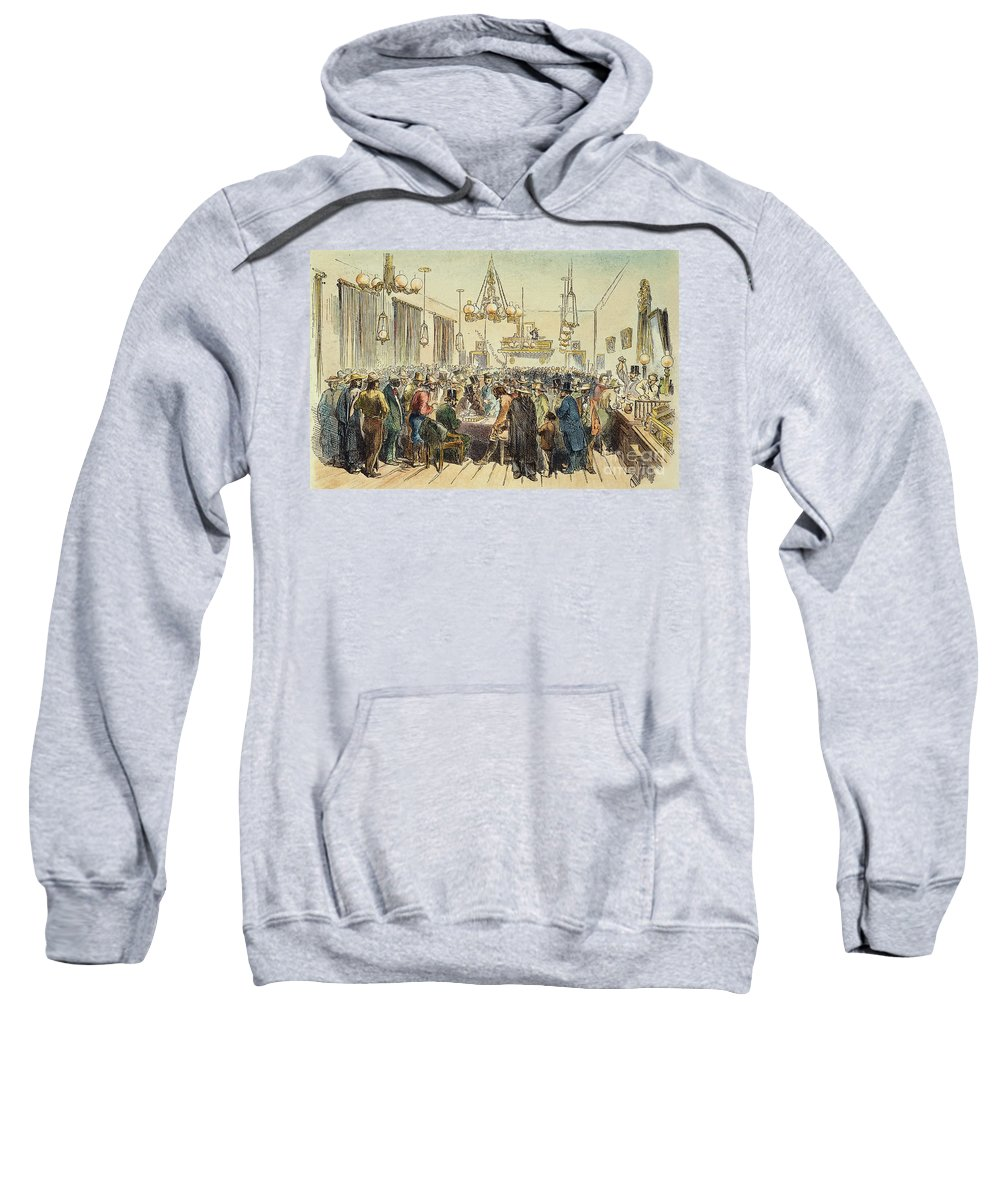 1852 Sweatshirt featuring the photograph Miners In Saloon, 1852 by Granger