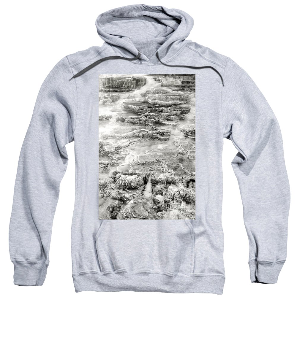 America Sweatshirt featuring the photograph Minerva Springs In Black And White Yellowstone National Park Wyoming by Dave Welling