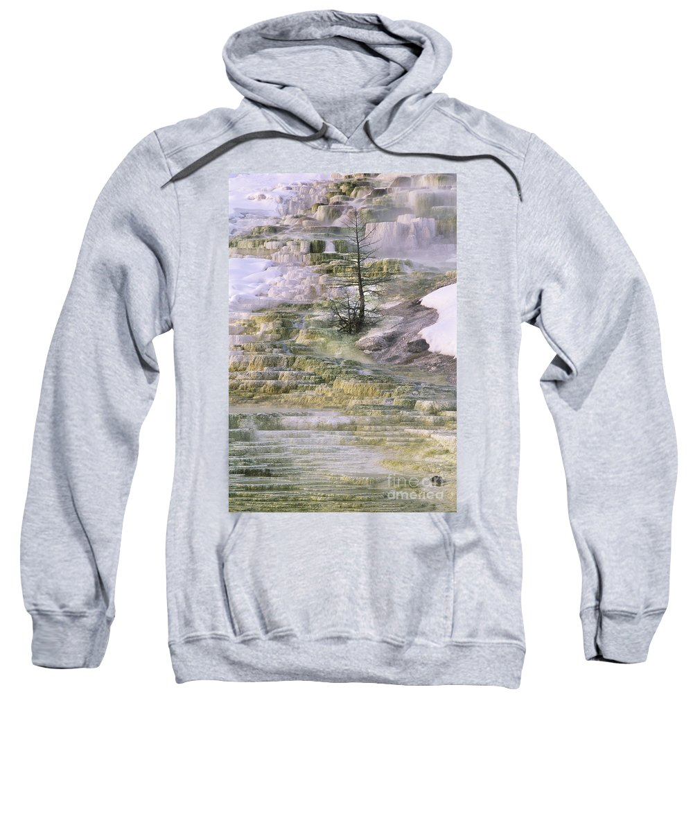 North America Sweatshirt featuring the photograph Minerva Springs Terraces Yellowstone National Park by Dave Welling