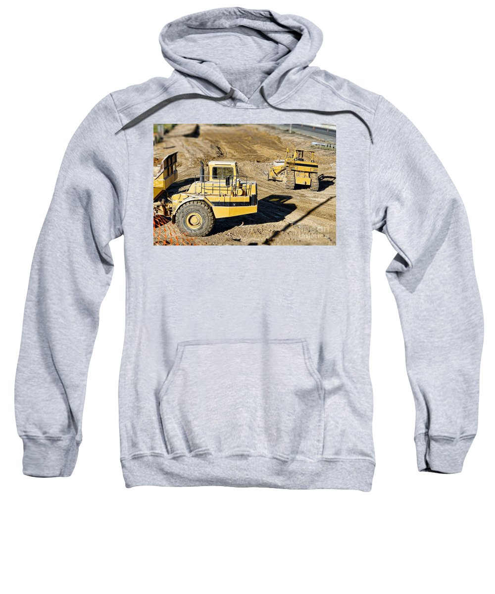 Bulldozer Sweatshirt featuring the photograph Miniature Construction Site by Olivier Le Queinec