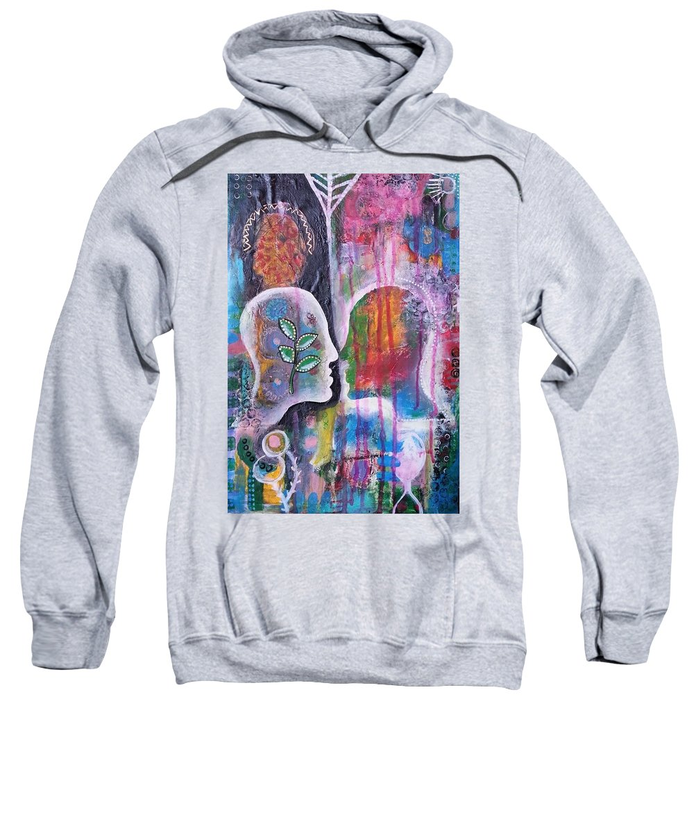 Acrylic Painting Sweatshirt featuring the painting Mirrored Worlds by Cristina Parus