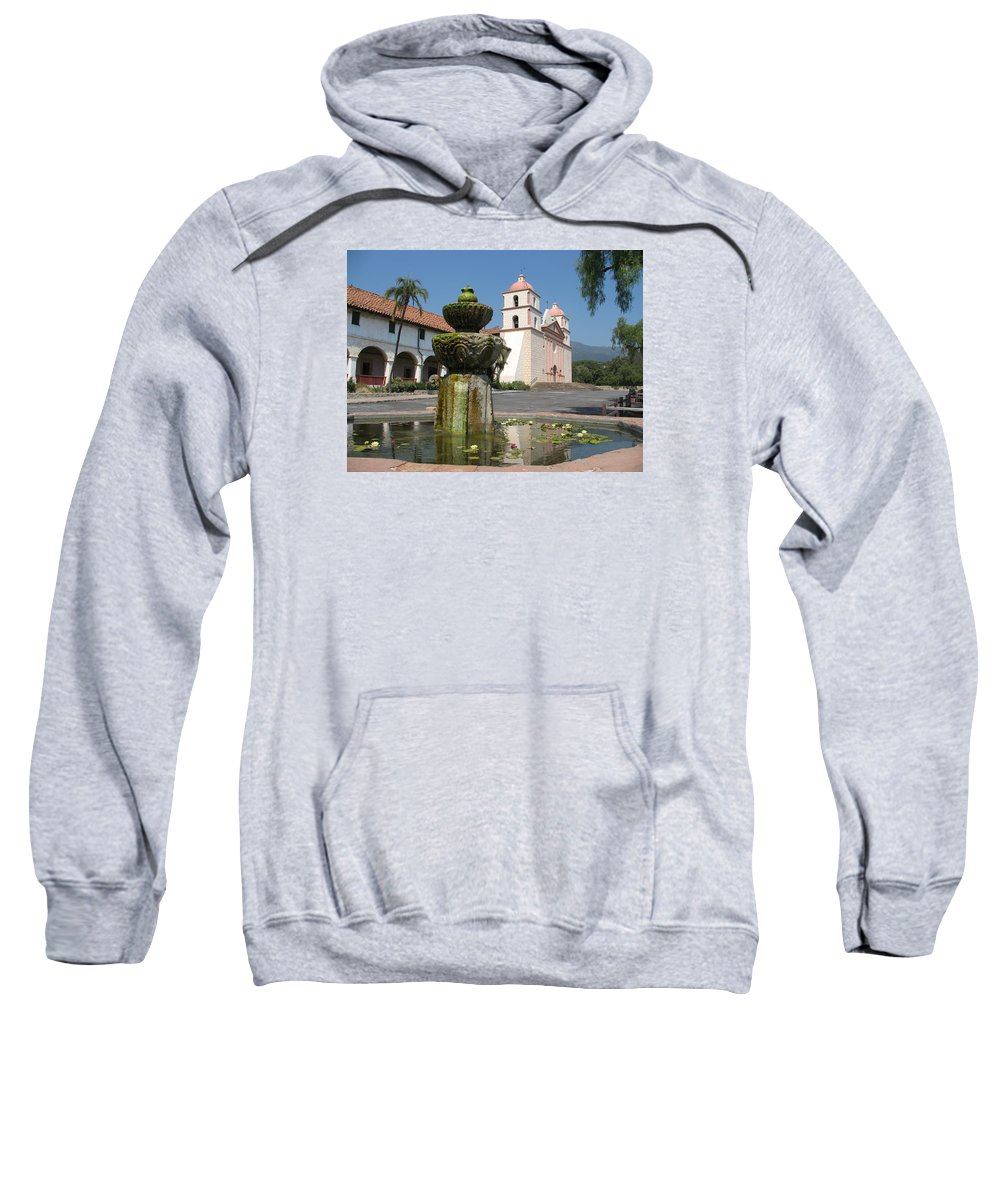Mission Sweatshirt featuring the photograph Mission Santa Barbara And Fountain by Christiane Schulze Art And Photography