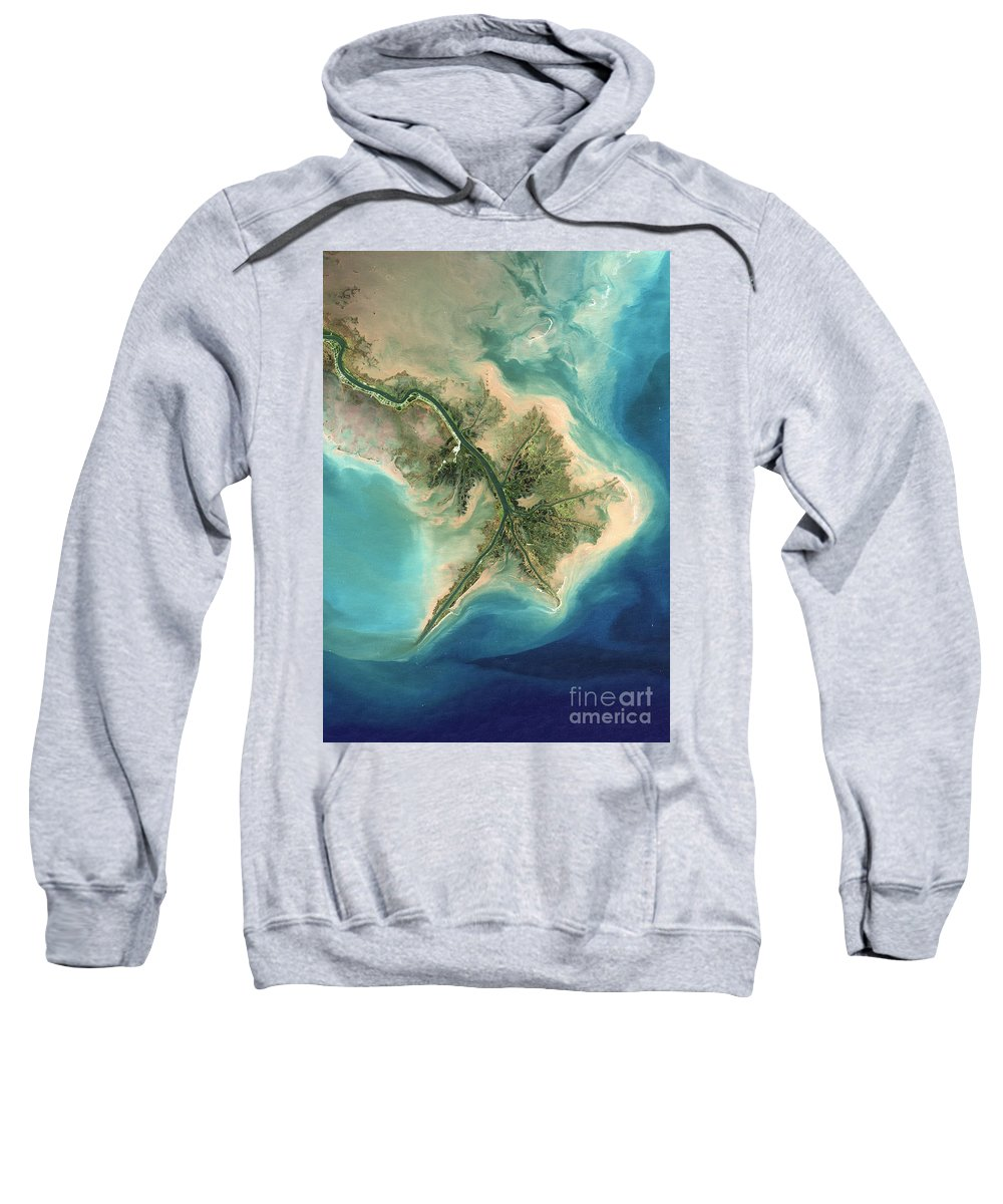 Satellite Image Sweatshirt featuring the photograph Mississippi River Delta, 2001 by Planet Observer