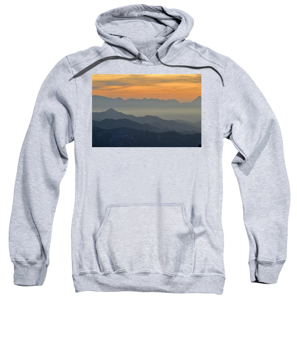 Sunset Sweatshirt featuring the photograph Mists In The Mountains At Sunset by Guido Montanes Castillo