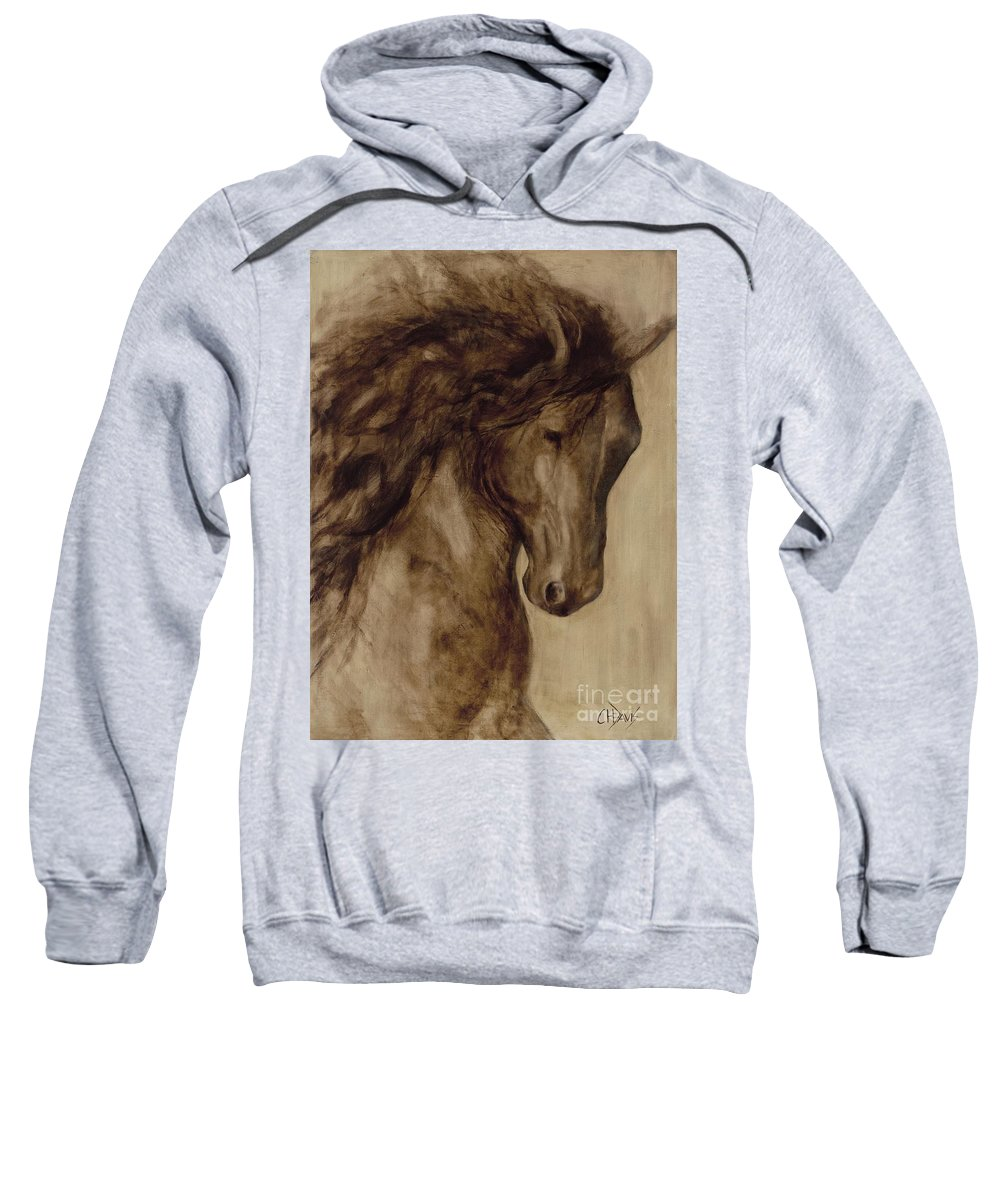 Horse Sweatshirt featuring the painting Misty by Catherine Davis