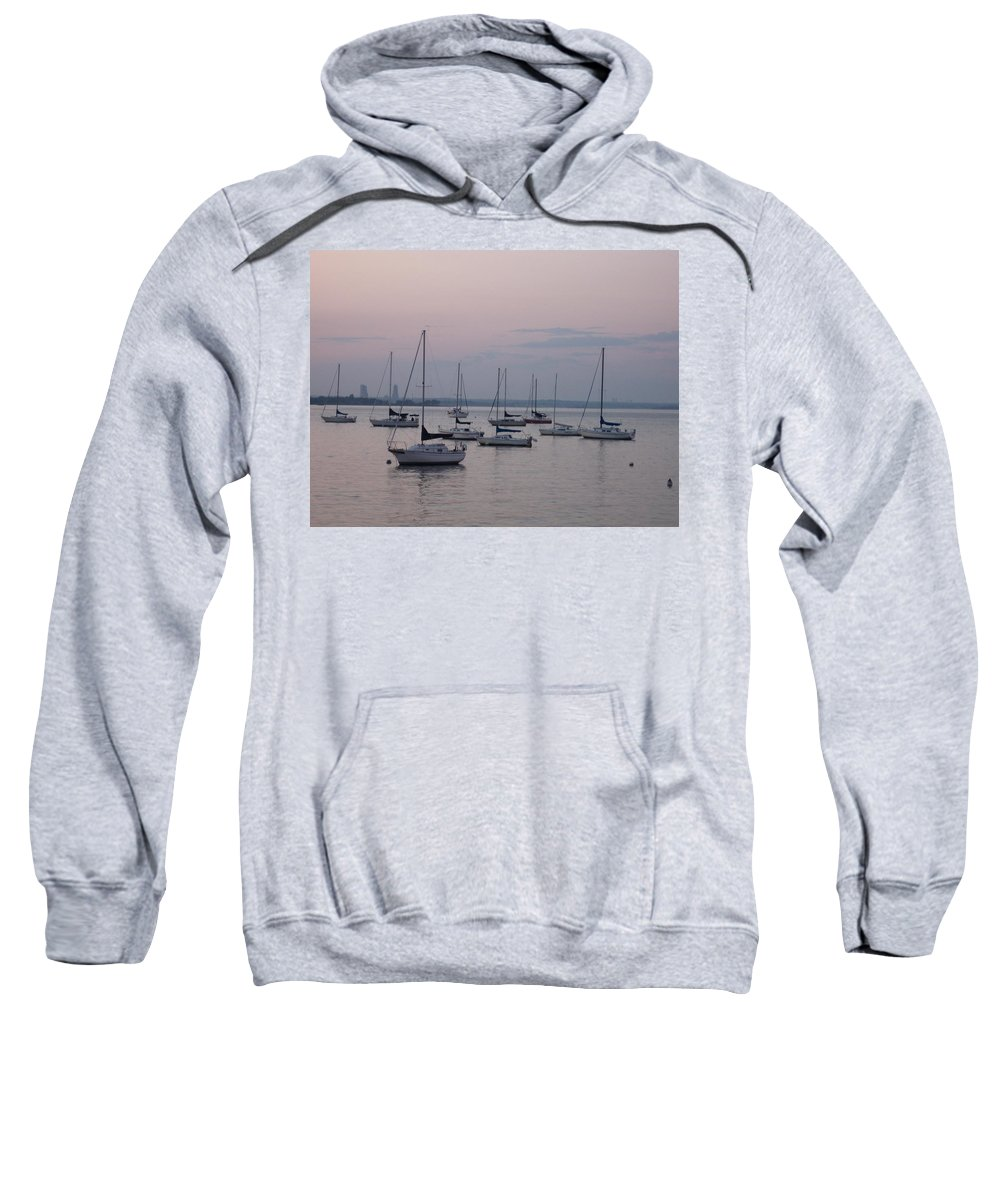 Landscapes - New York Sweatshirt featuring the photograph Misty Morning At The Bay by Dora Sofia Caputo Photographic Design and Fine Art