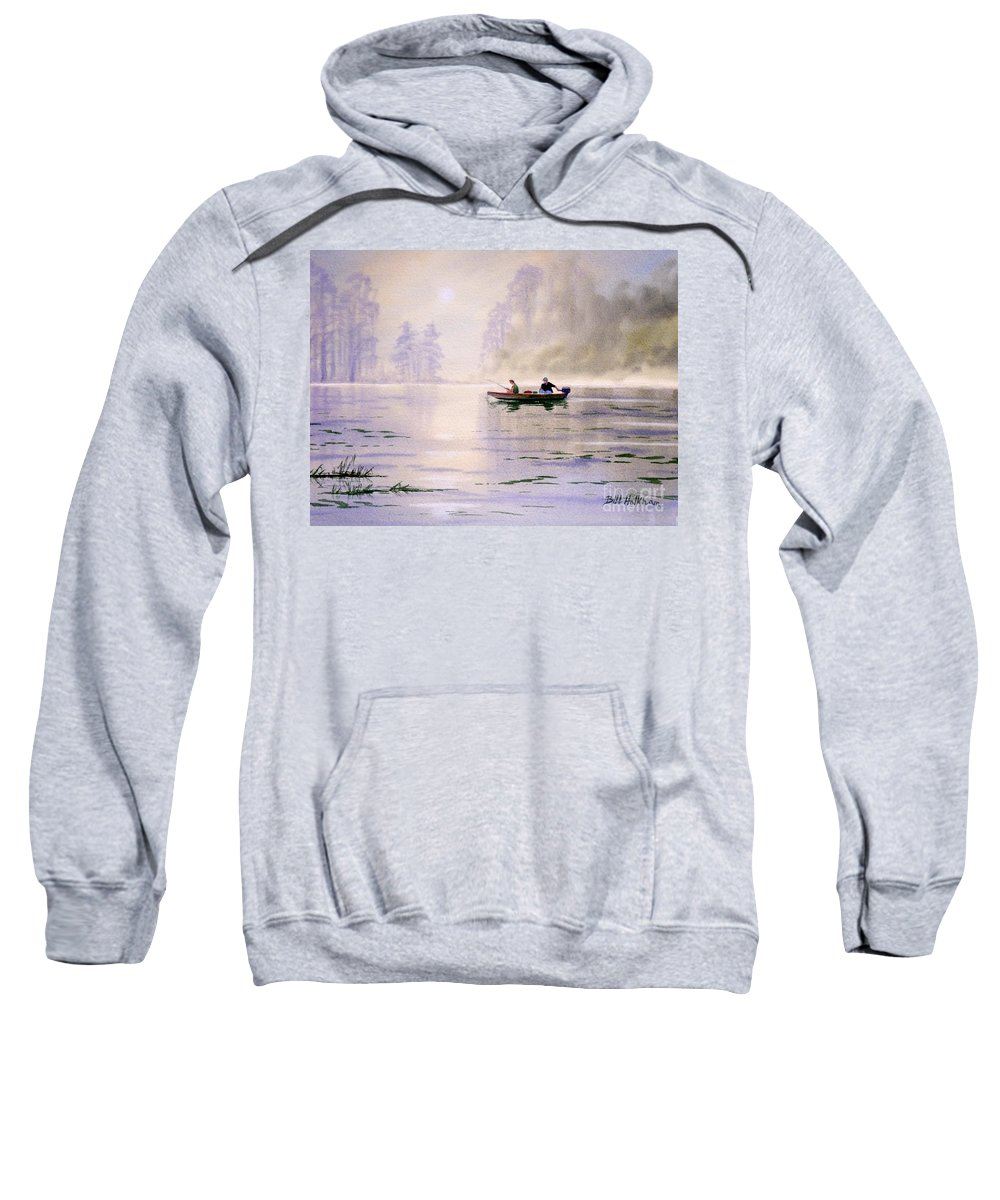 Banks Lake Sweatshirt featuring the painting Misty Sunrise On The Lake by Bill Holkham