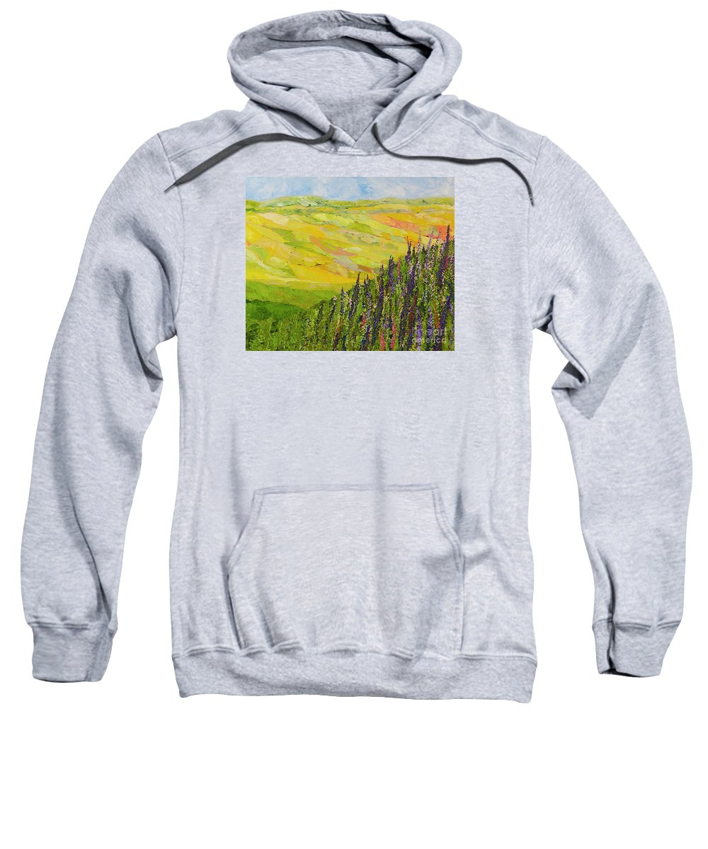 Landscape Sweatshirt featuring the painting Misty Valley by Allan P Friedlander