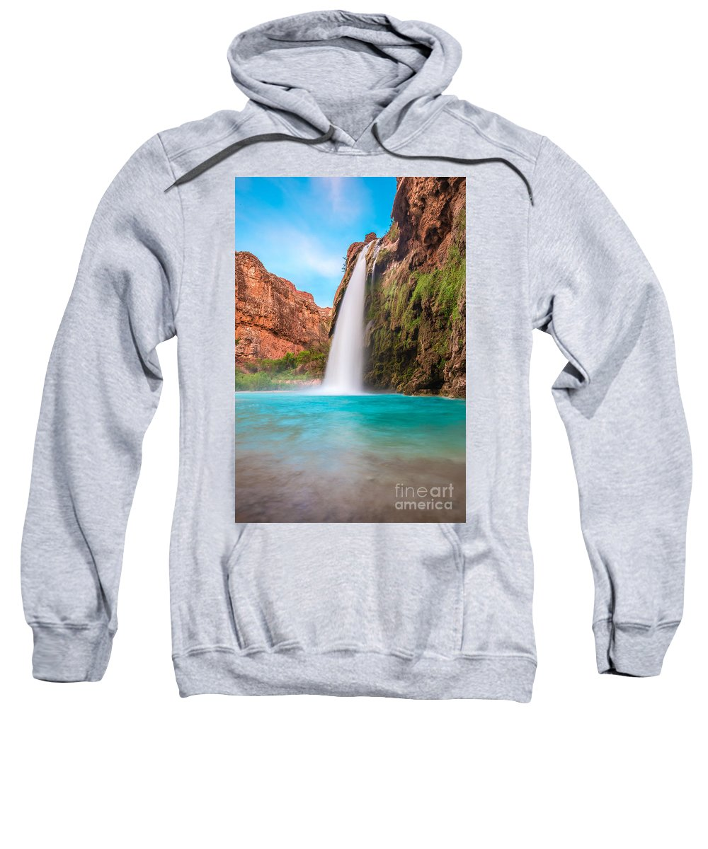 Arizona Sweatshirt featuring the photograph Misty Waterfall by Nicholas Pappagallo Jr