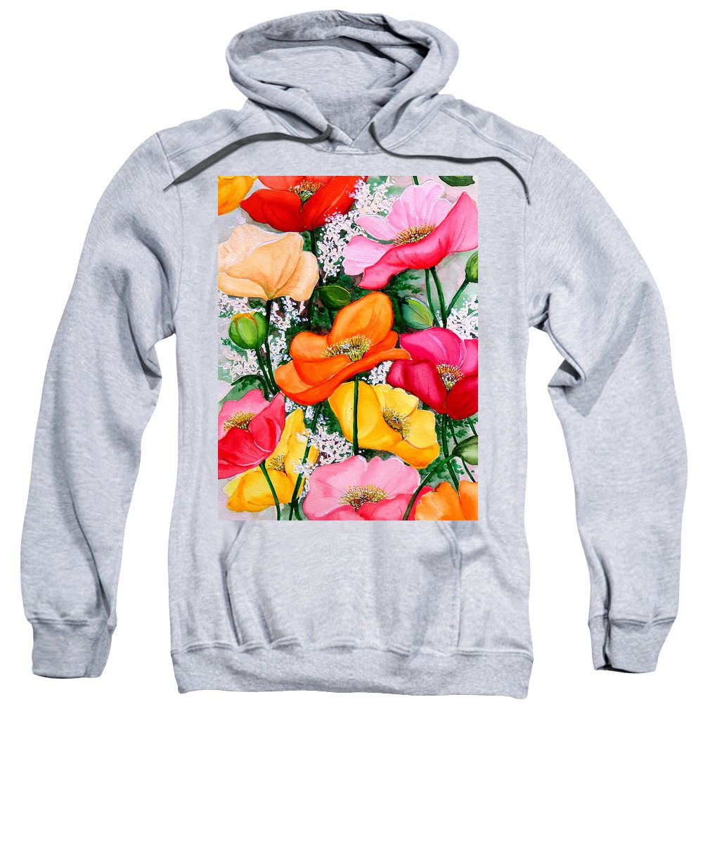 Poppies Sweatshirt featuring the painting Mixed Poppies by Karin Dawn Kelshall- Best