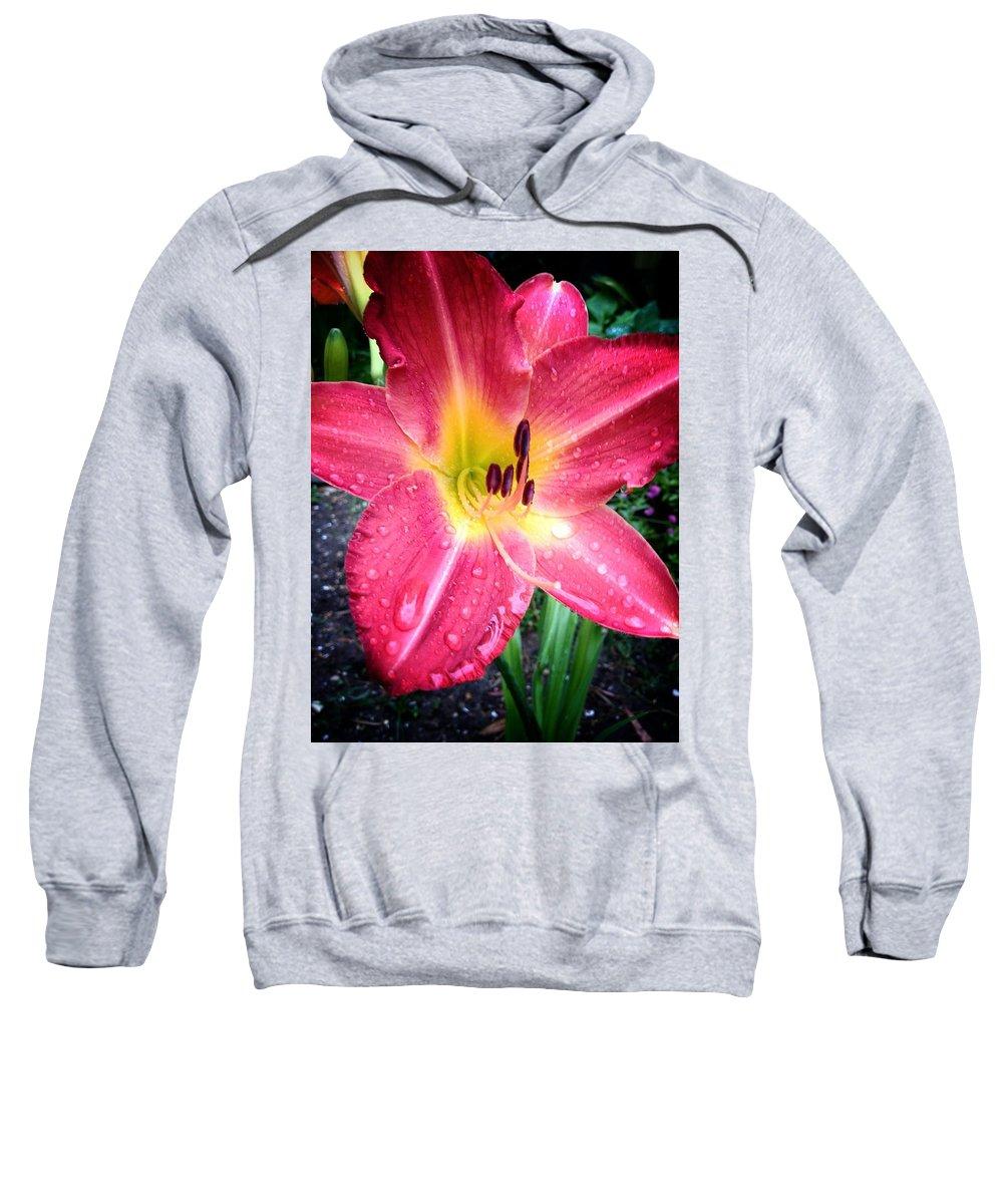 Daylilly Sweatshirt featuring the photograph Mom's Secret Garden by John Duplantis
