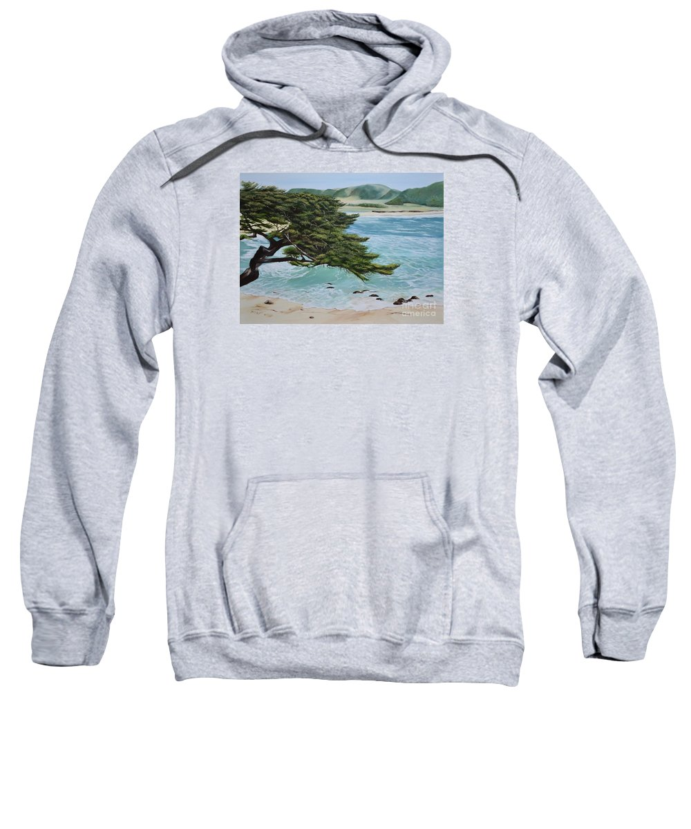 Beach Sweatshirt featuring the painting Monastery Beach by Mary Rogers