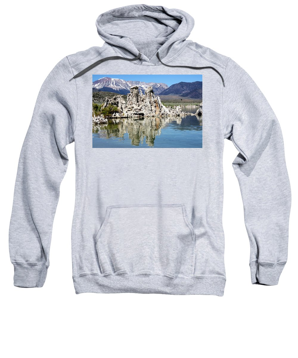 Mammoth Mountains Sweatshirt featuring the photograph Mono Lake And Sierra Mtns by Linda Dunn
