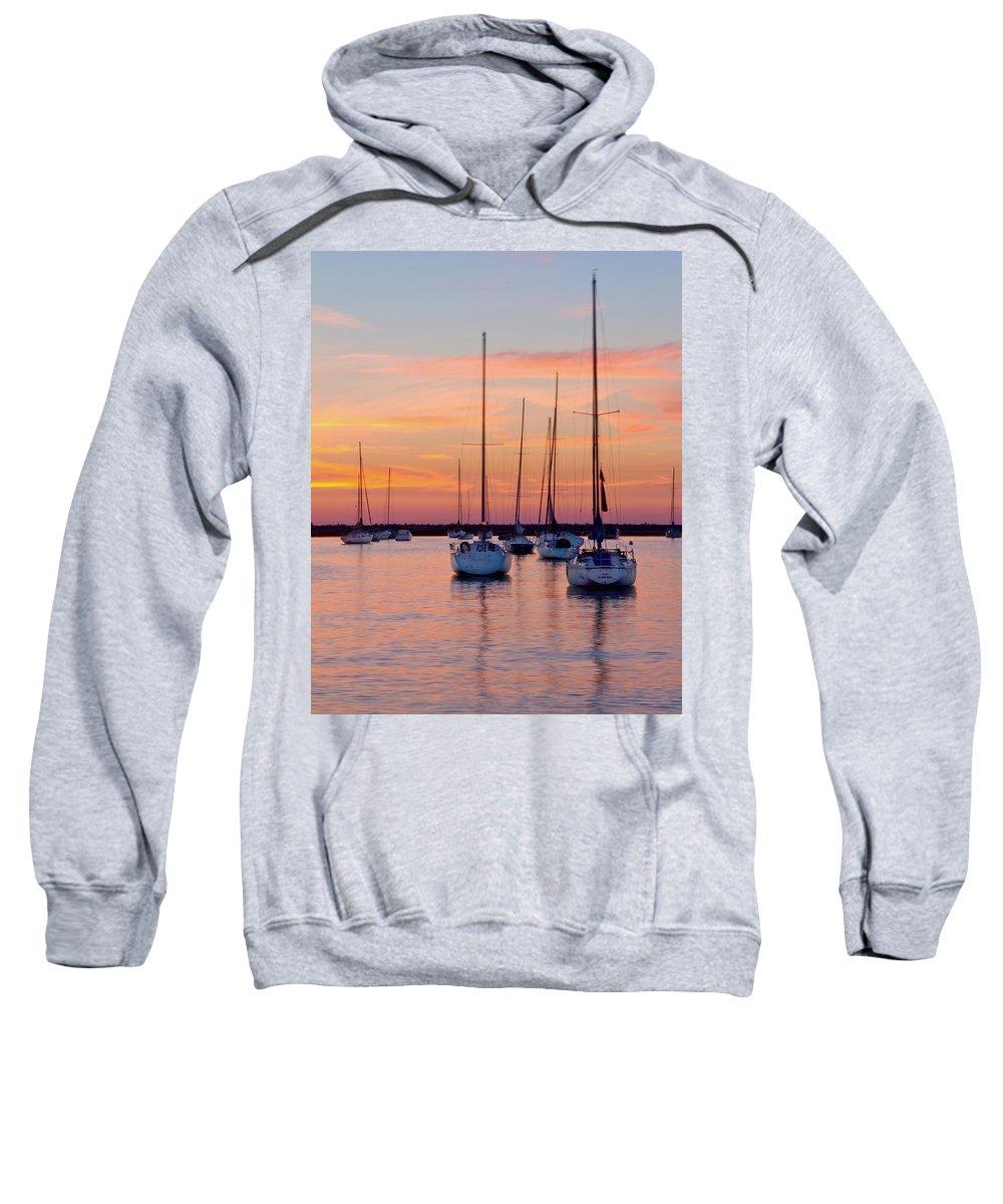 Chicago Sweatshirt featuring the photograph Monroe Harbor Sunrise by Lindley Johnson