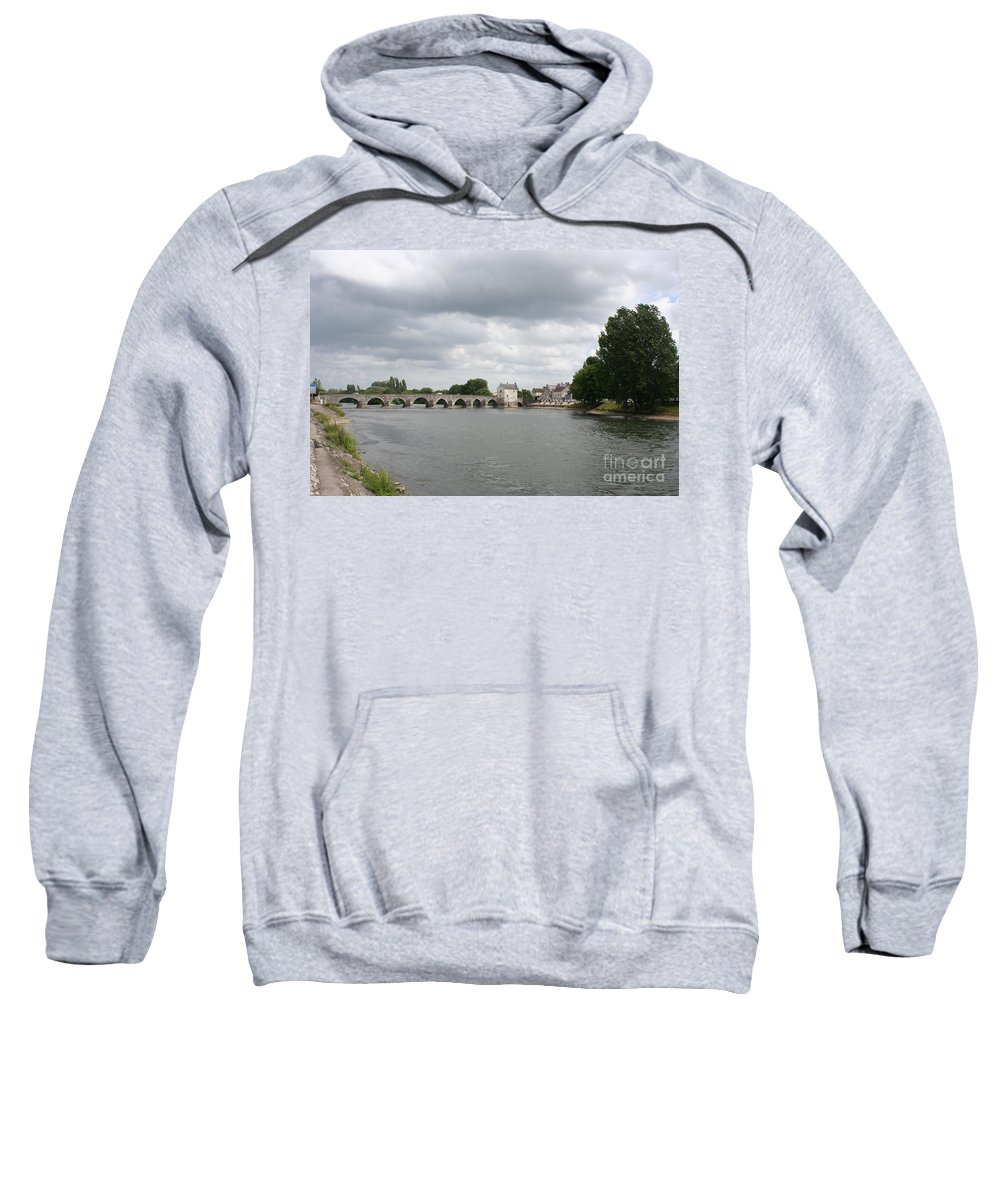 River Sweatshirt featuring the photograph Montrichard Bridge Over Cher River by Christiane Schulze Art And Photography