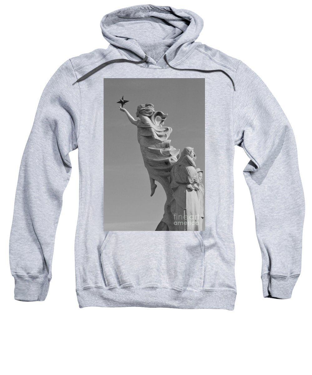 Immigrants Sweatshirt featuring the photograph Monument To The Immigrants Statue 3 by Alys Caviness-Gober