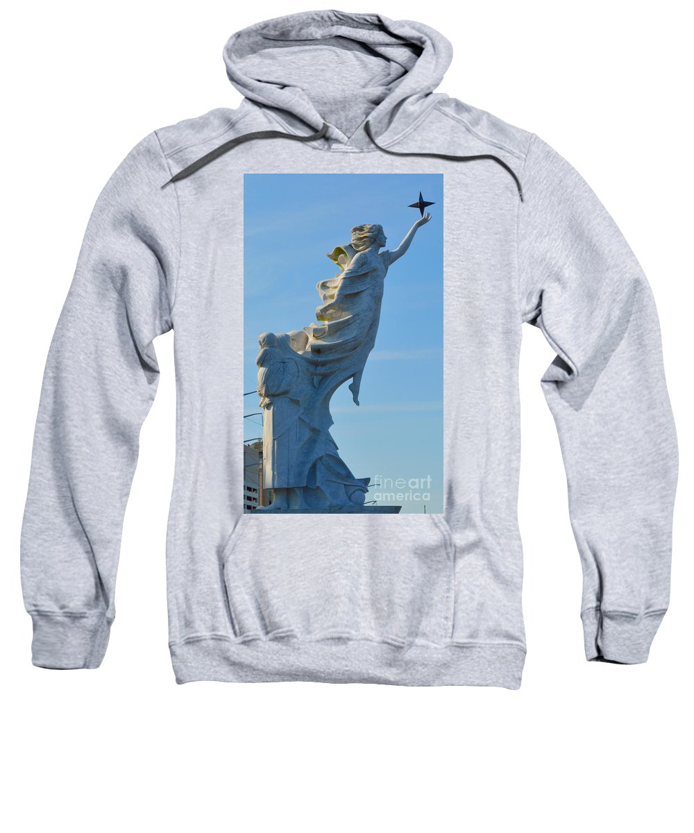 Immigrants Sweatshirt featuring the photograph Monument To The Immigrants Statue 4 by Alys Caviness-Gober