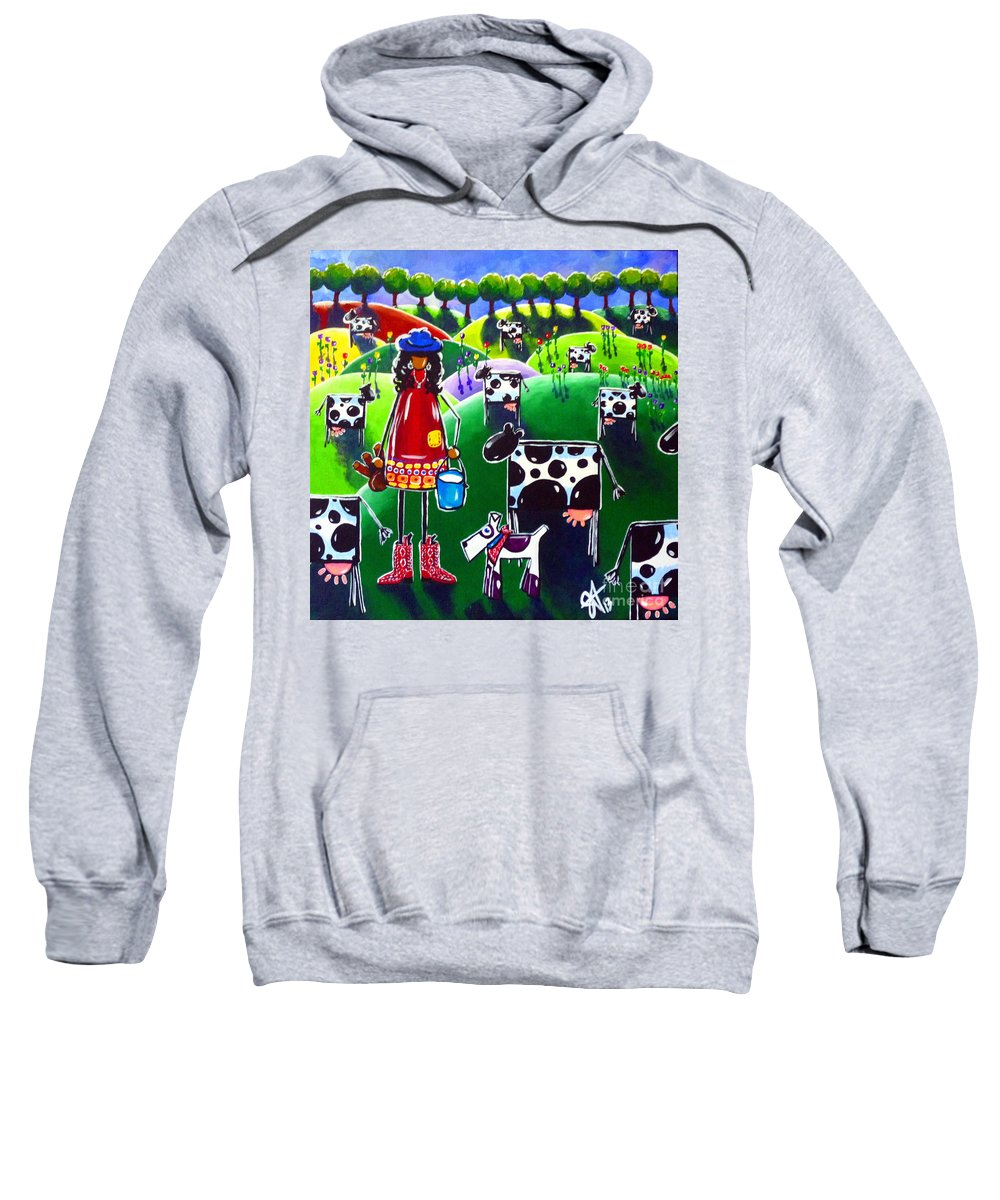 Cow Sweatshirt featuring the painting Moo Cow Farm by Jackie Carpenter