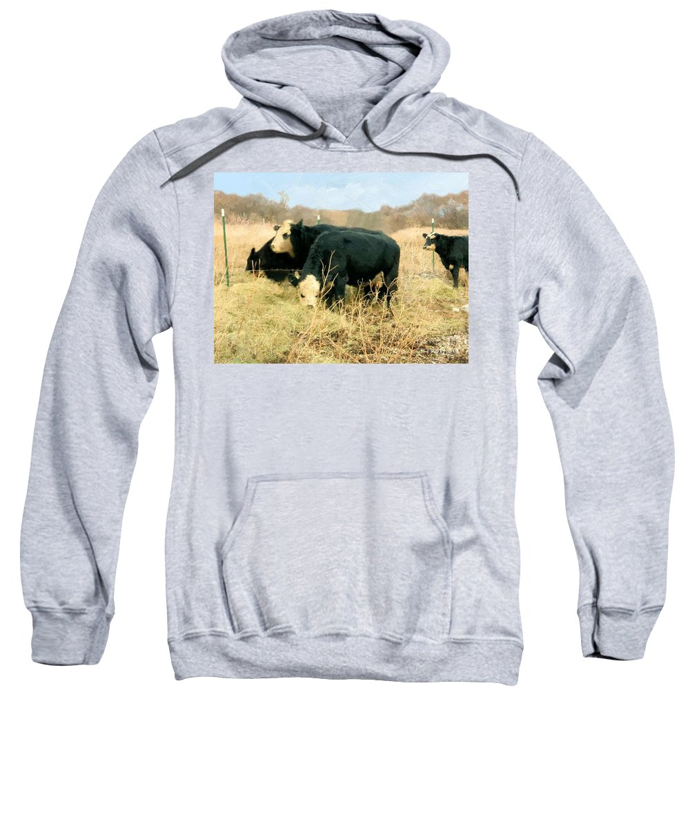 Cows Sweatshirt featuring the painting Moo Cow Munch by RC DeWinter