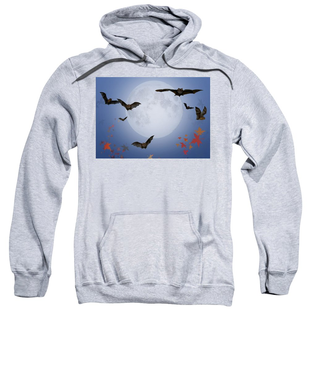 Halloween Sweatshirt featuring the digital art Moon And Bats by Melissa A Benson