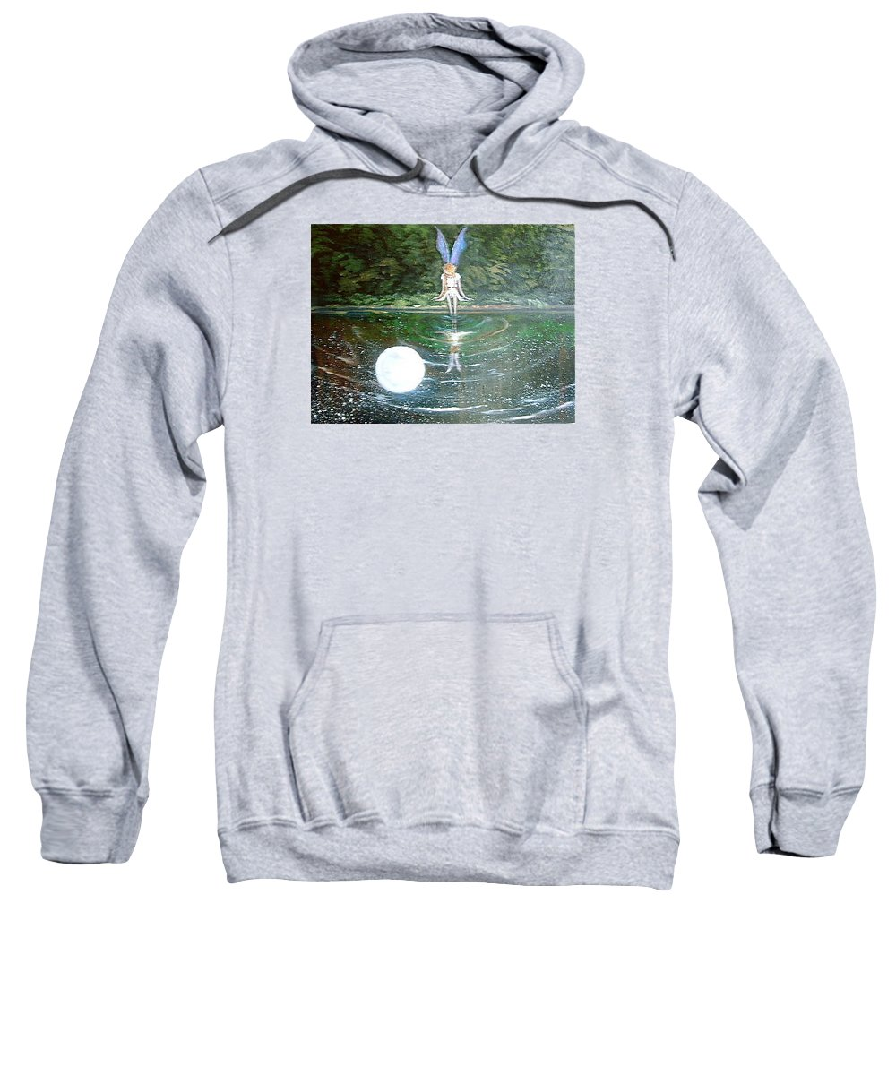 Fairies Sweatshirt featuring the painting Moon Fairy by Jean Walker
