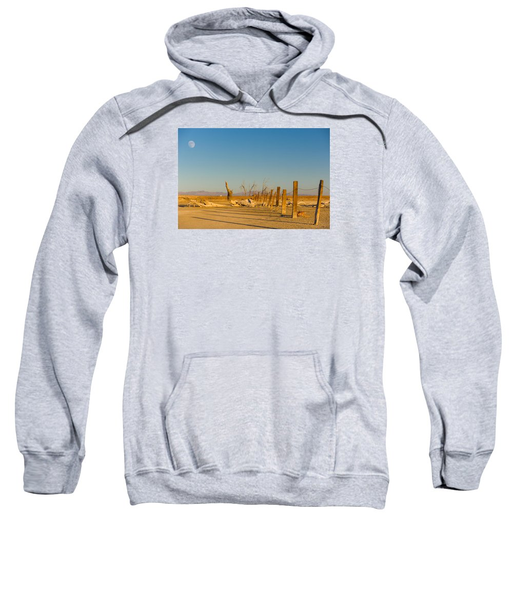 Abandoned Sweatshirt featuring the photograph Moon Rise Over Waste Land by Scott Campbell