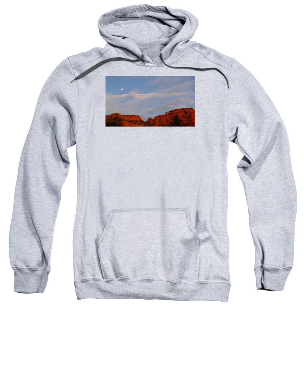 Moon Sweatshirt featuring the photograph Moonrise In Sedona by Denise Mazzocco