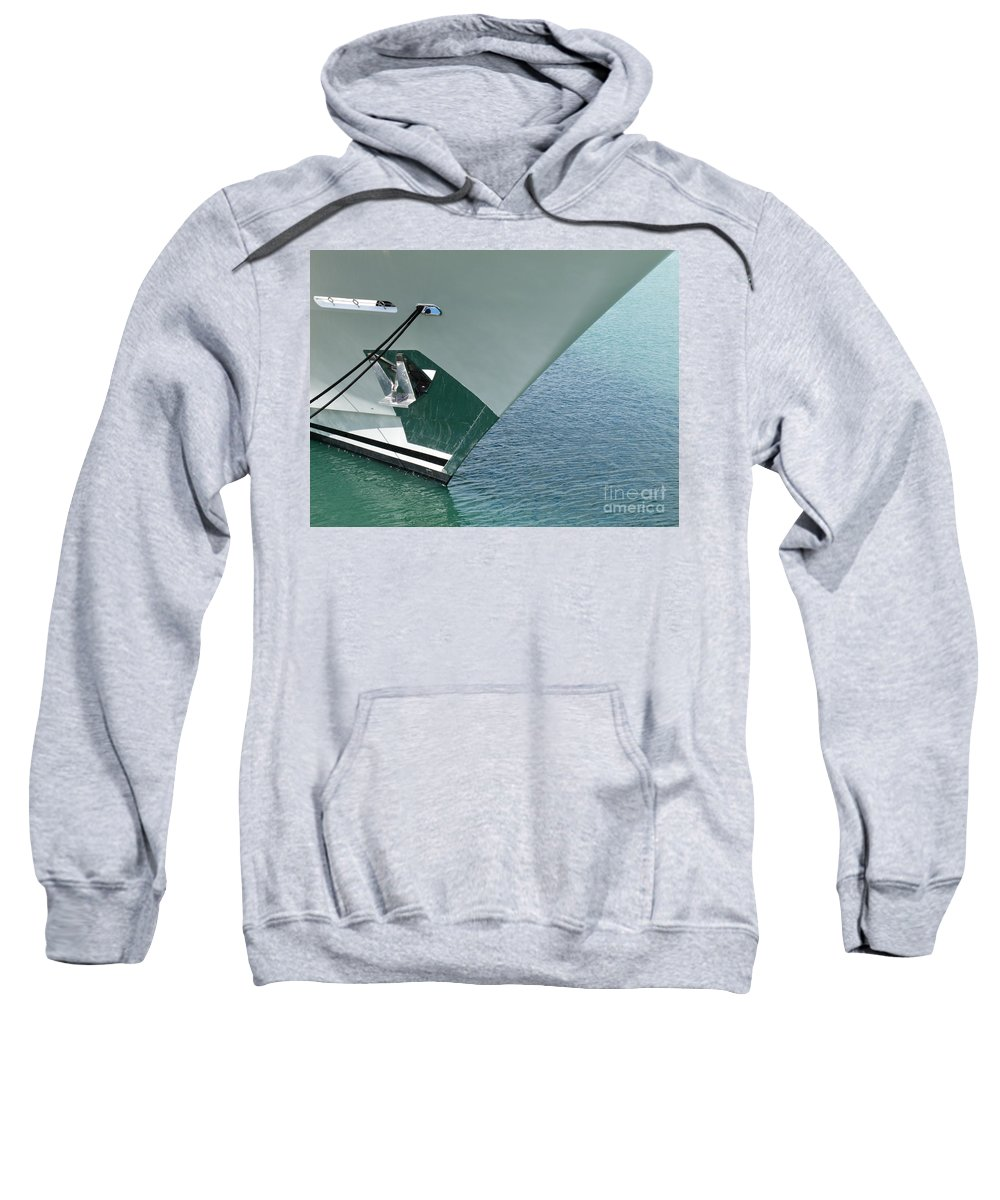 Abstract Sweatshirt featuring the photograph Moored Ships Bow With Retracted Anchor Abstract by Stephan Pietzko