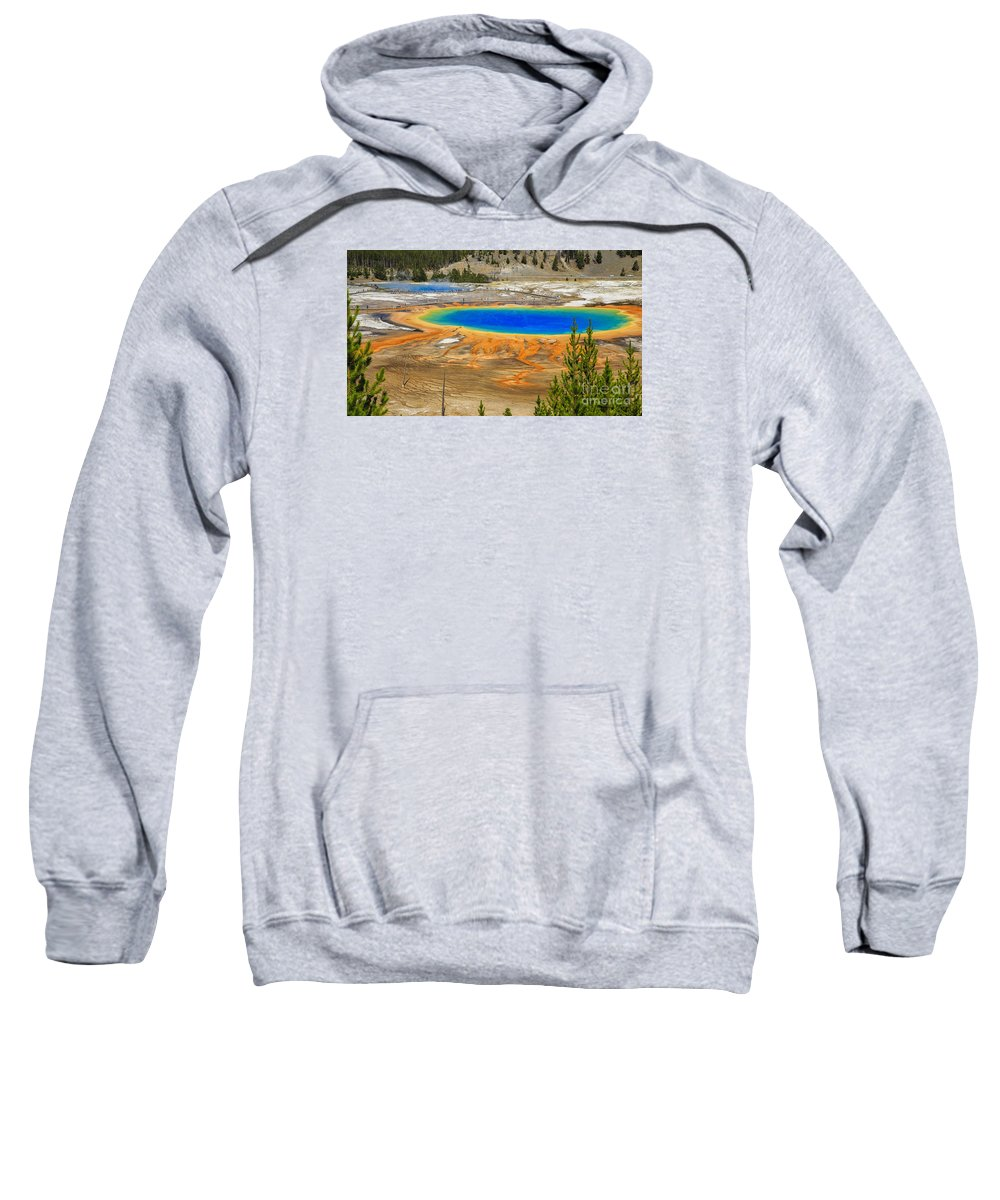 National Sweatshirt featuring the photograph Grand Prismatic Geyser Yellowstone National Park by Edward Fielding