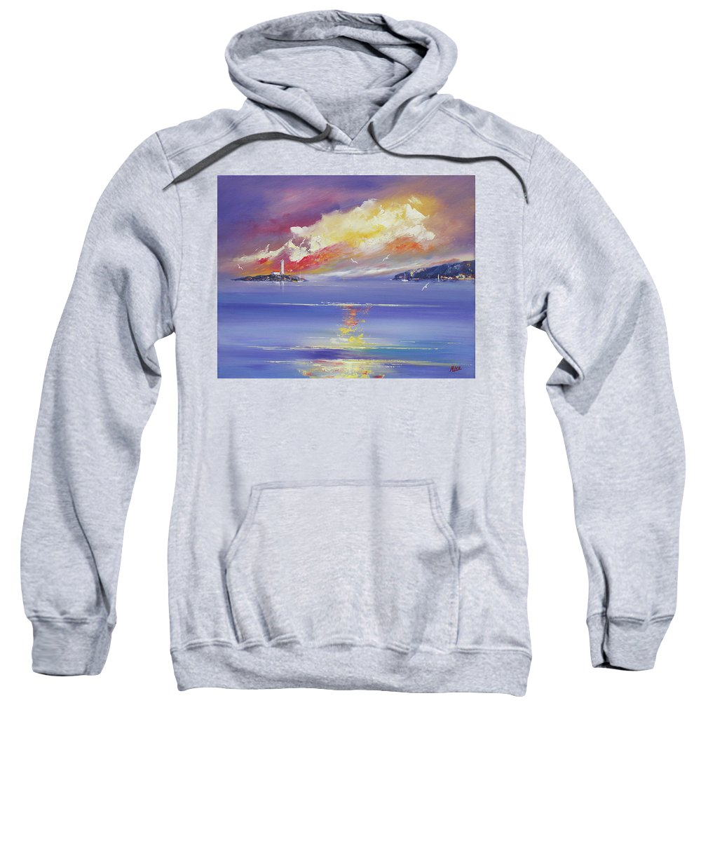 Seascapes Sweatshirt featuring the painting Morning Light by Miroslav Stojkovic