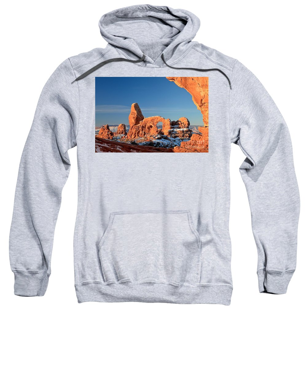 Turret Arch Sweatshirt featuring the photograph Morning Looking Out The Window by Adam Jewell