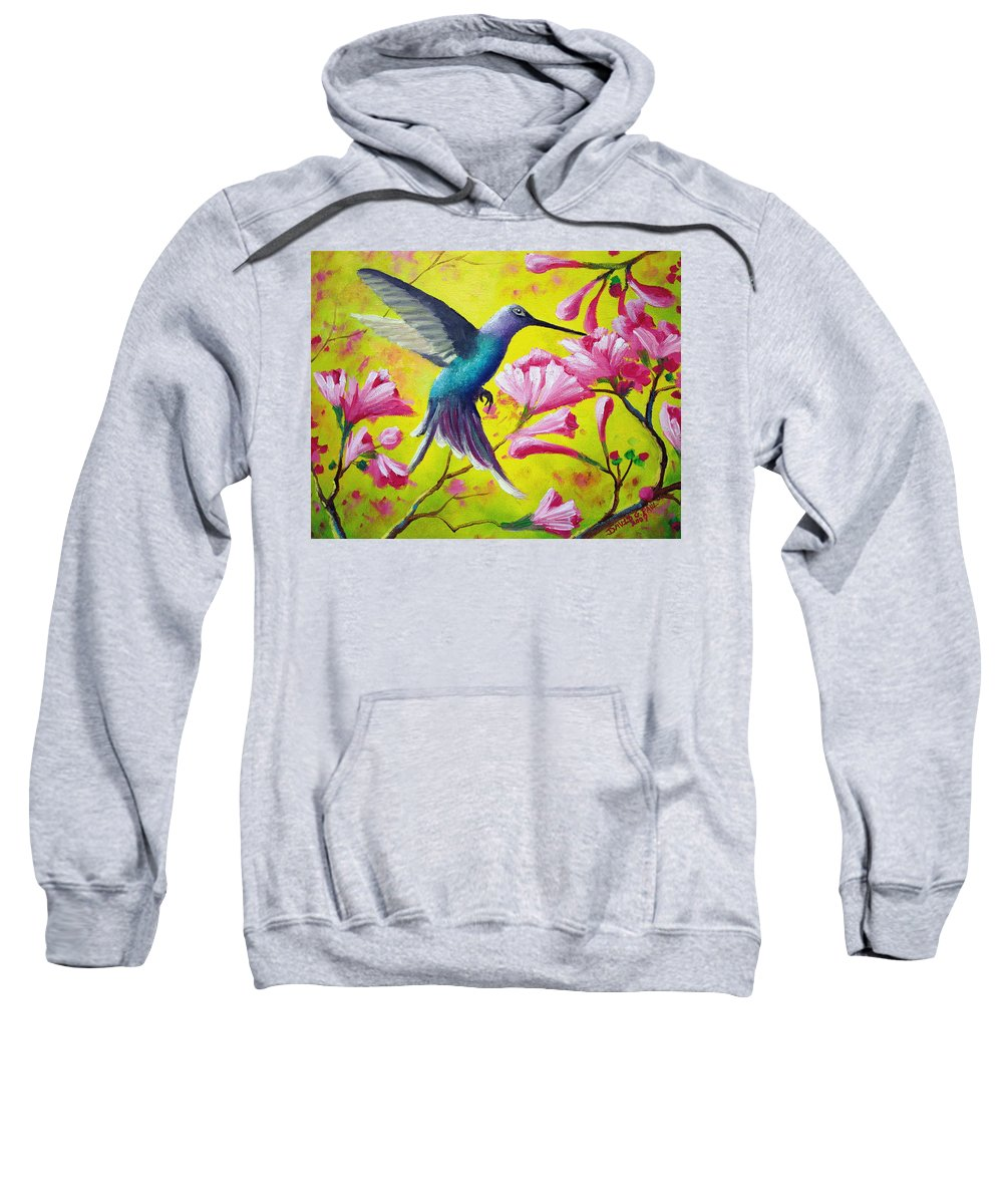 Hummingbird Sweatshirt featuring the painting Morning Sweets by David G Paul