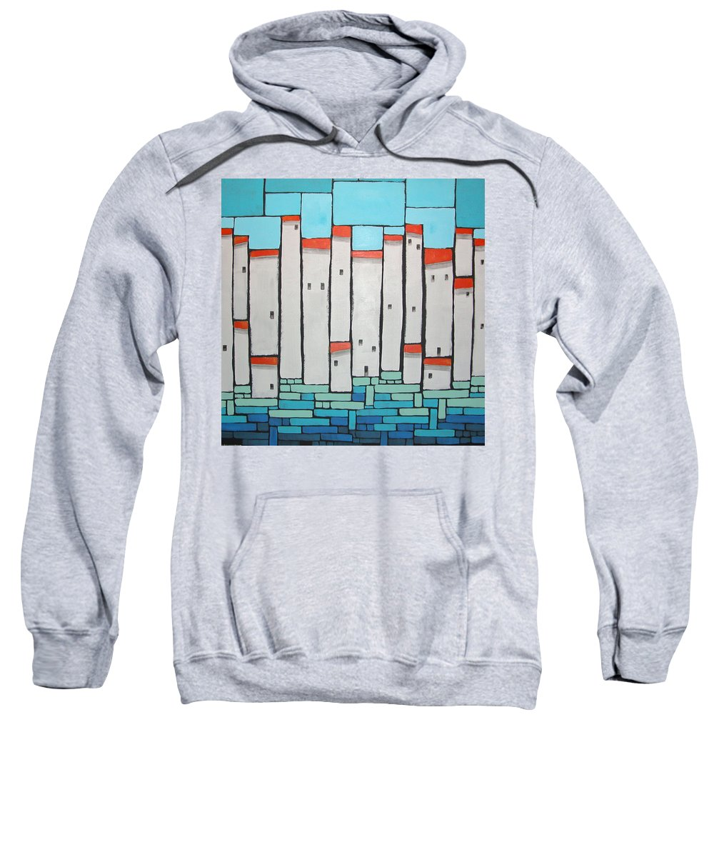 Mosaic Village Sweatshirt featuring the painting Mosaic Village 4 by Rhodes Rumsey