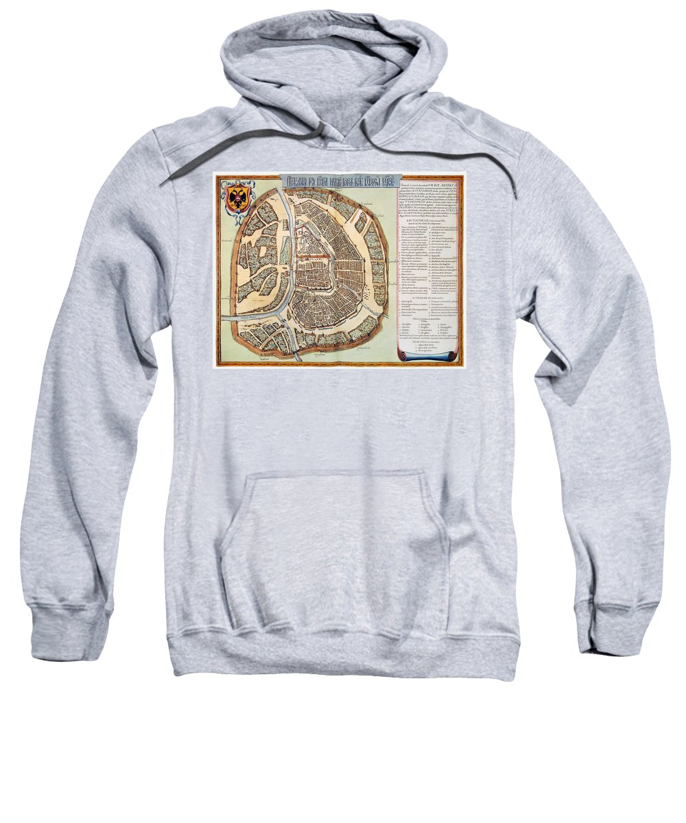 1662 Sweatshirt featuring the photograph Moscow: Map, 1662 by Granger