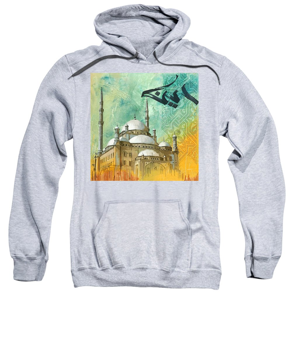 Alabaster Mosque Sweatshirt featuring the painting Mosque Of Muhammad Ali by Corporate Art Task Force