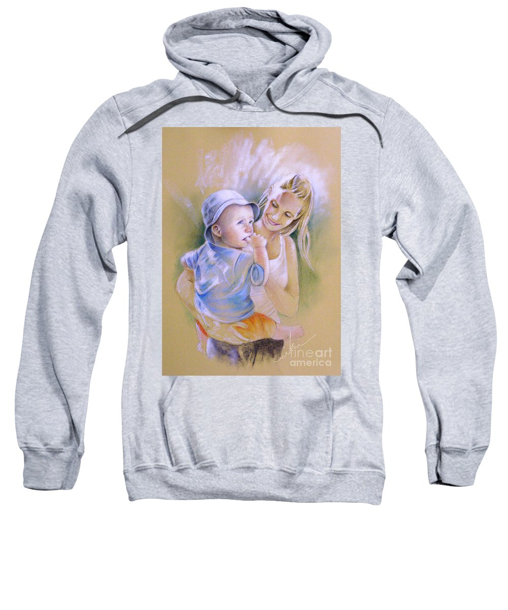 Portrait Sweatshirt featuring the painting Mother And Son by Miki De Goodaboom