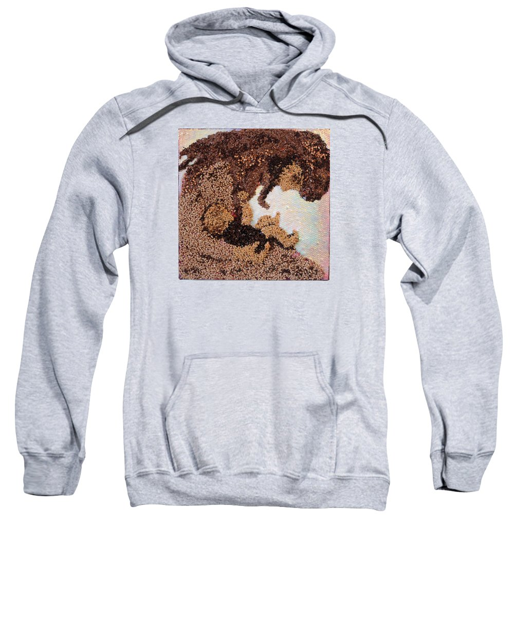 Mother And Child Sweatshirt featuring the mixed media Mother Earth III by Naomi Gerrard