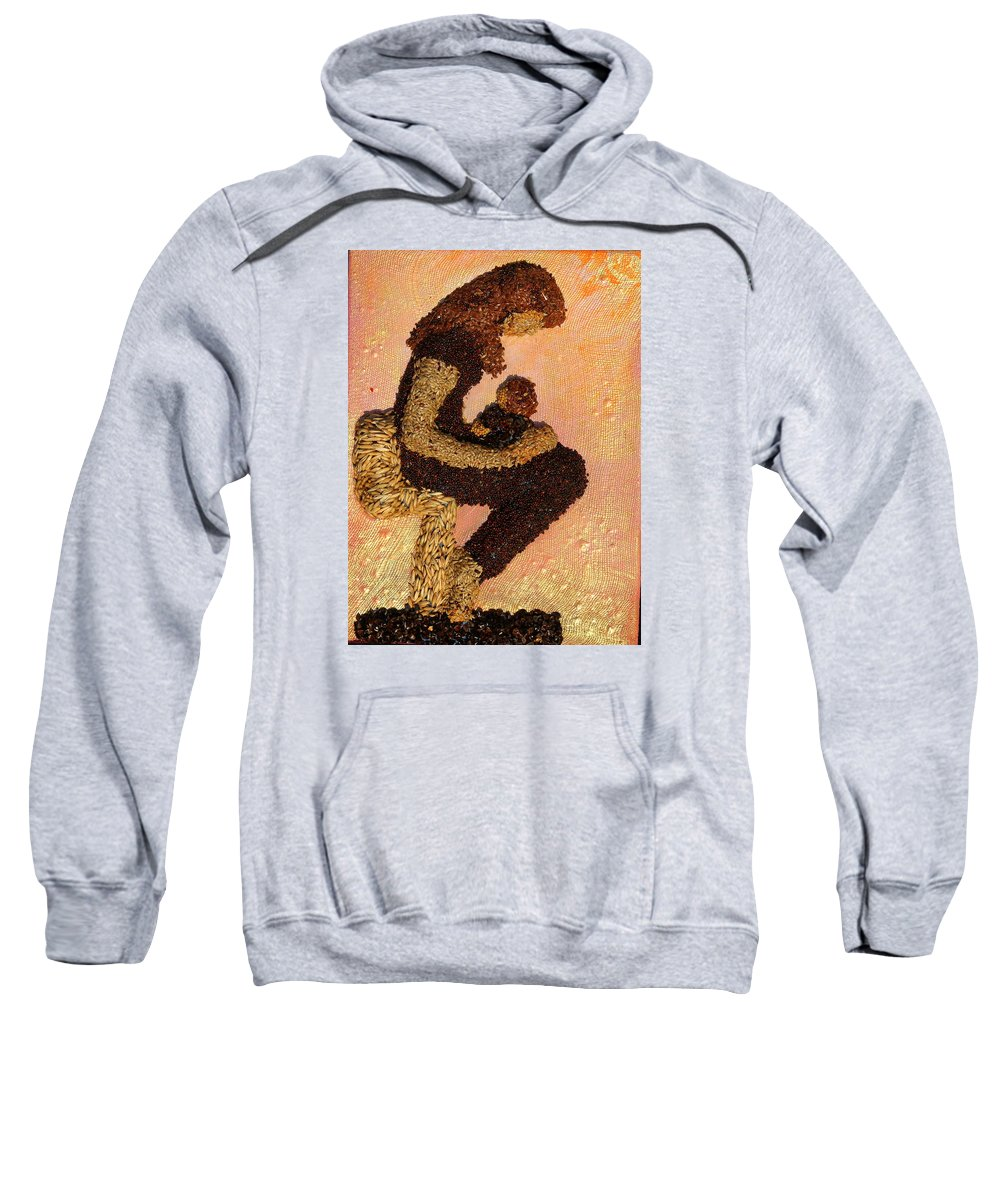 Mother And Child Sweatshirt featuring the mixed media Mother Earth V by Naomi Gerrard