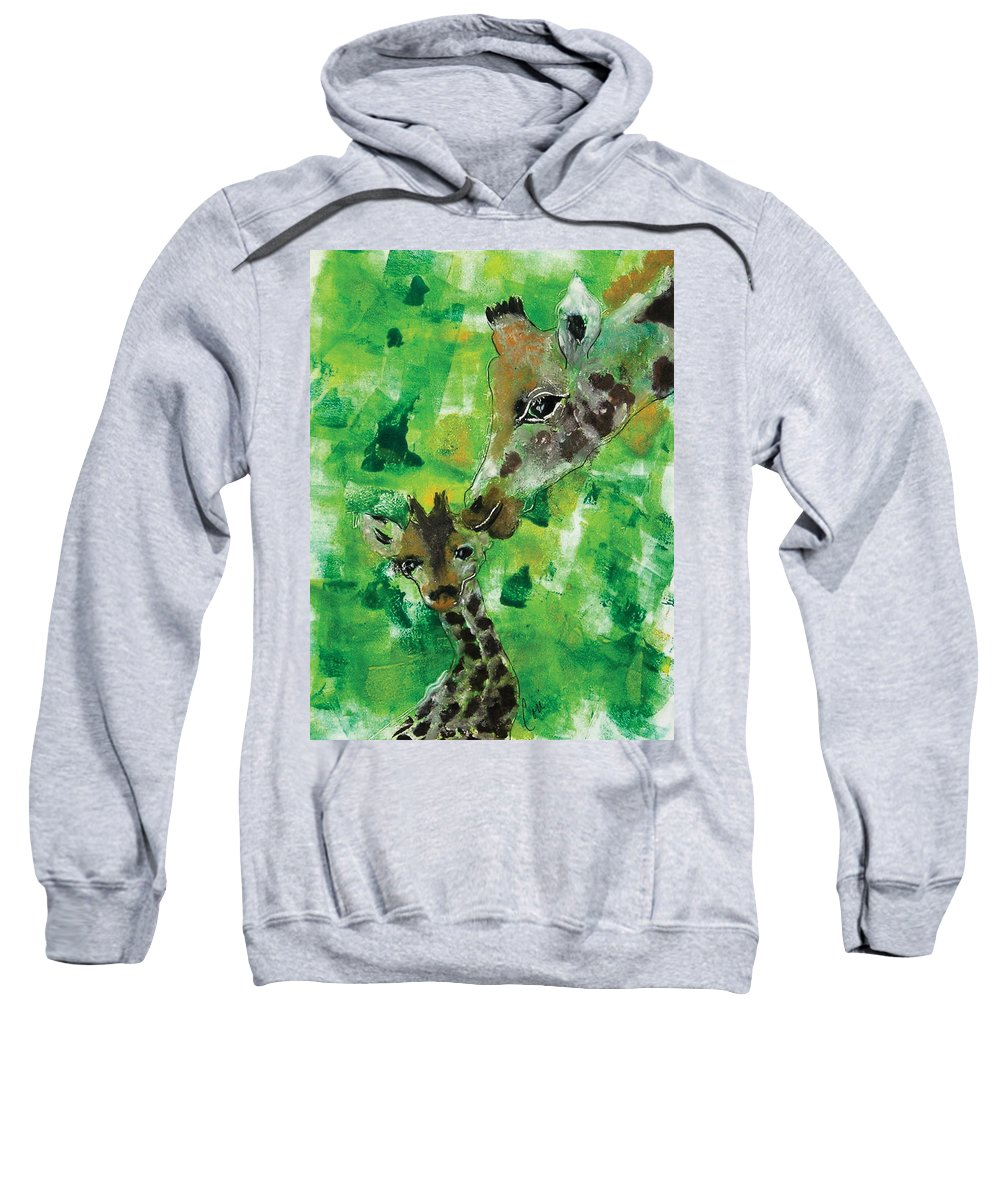 Giraffes Sweatshirt featuring the mixed media Motherly Love by Cori Solomon